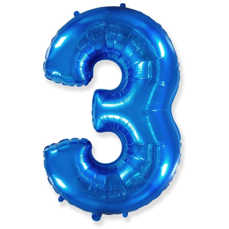Цифра 3 Синий