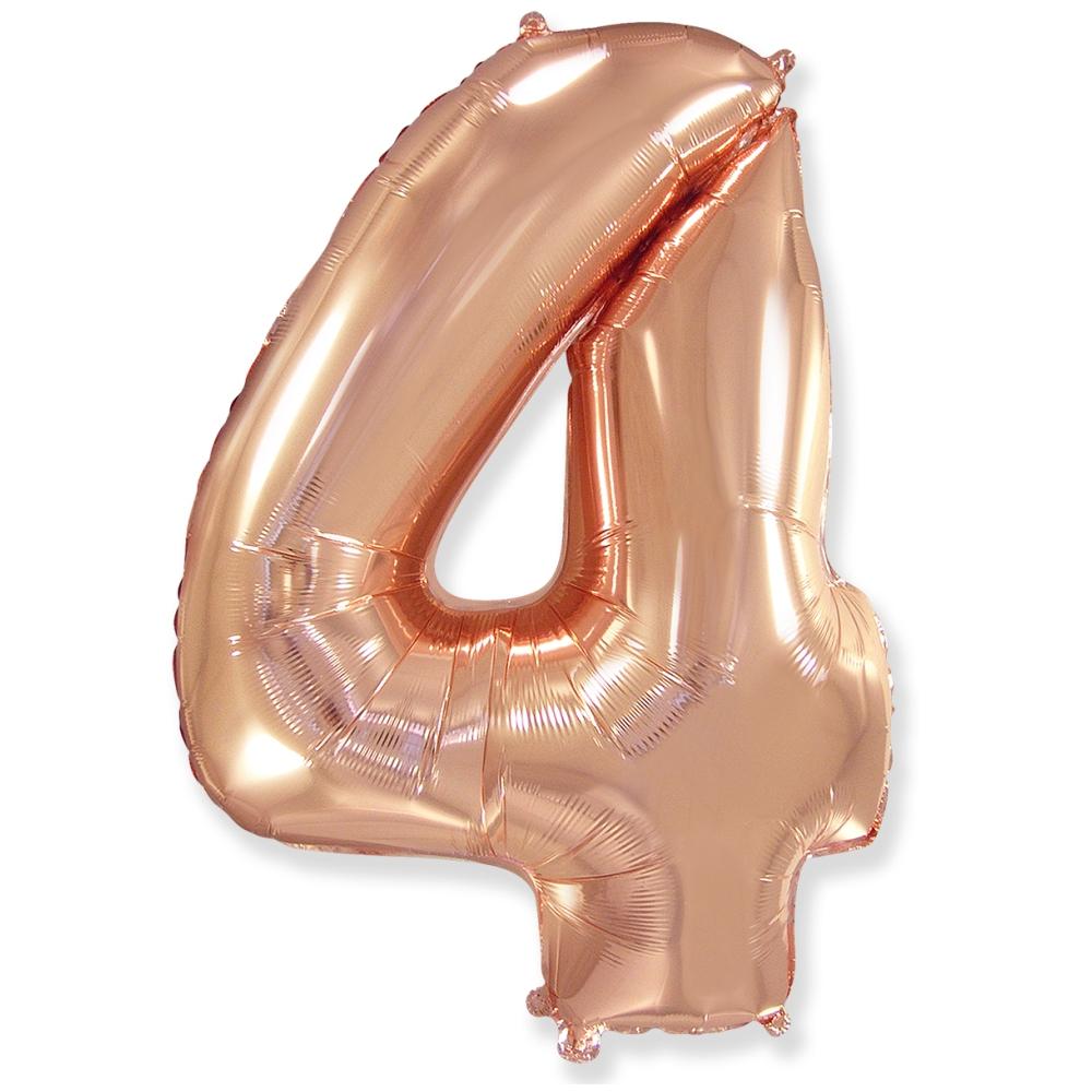Цифра 4 Розовое золото