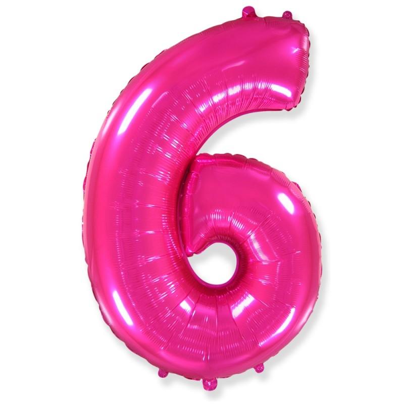 Цифра 6 Фуксия