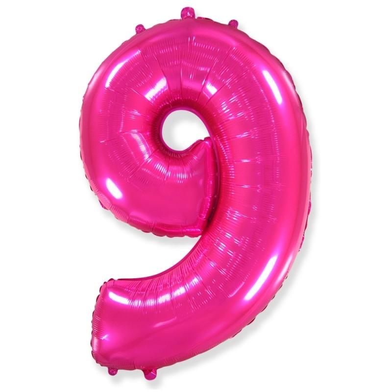 Цифра 9 Фуксия