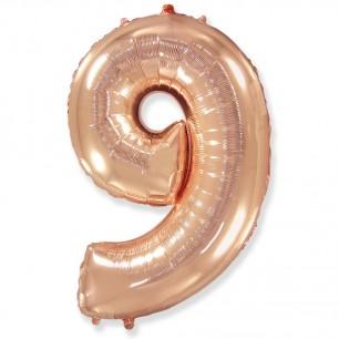 Цифра 9 Розовое золото