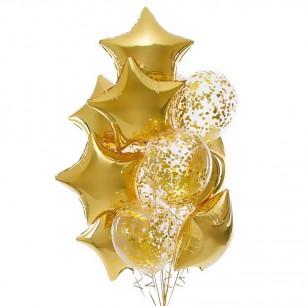 Золотые звезды Фонтан из шаров